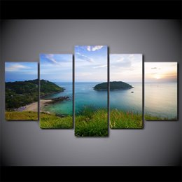 oil paint island Australia - HD Printed 5 Piece Canvas Art Green Island Landscape Painting Wall Pictures Modular Framed Painting Free Shipping CU-2341C