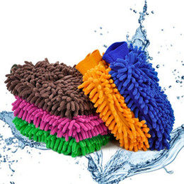 Chenille Towels Wholesale Australia - Chenille Cache gloves Vorkin Super Microfiber Car Window Washing Cleaning Cloth Duster Towel Gloves 5 Colors