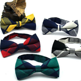 Bowties For Women Australia - colorful bow tie for man cotton butterfly fashion check bowknot standard size strips grid bowties 2PCS LOT