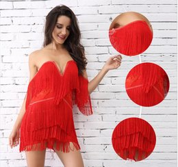 ef383bca65 Women Bandage Dress adyce 2018 New Elegant Club Party Dresses Sexy V Neck  Off Shoulder Tassels Embellished Mini Fringe Dress