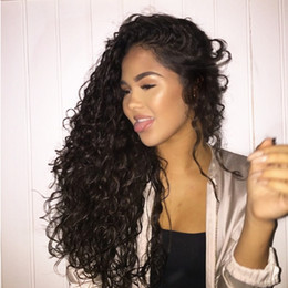 heat resistant hair synthetic curly 2019 - Hot Selling 1b# 2# 613# bug# Kinky Curly Wigs with Baby Hair 180% Density Heat Resistant Synthetic Lace Front Wigs for B