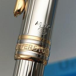 mb pen blue 2019 - Top Grade ag925 MB pen Meisterstucks Silver lines metal Ballpoint Roller ball pen stationary supplies A++