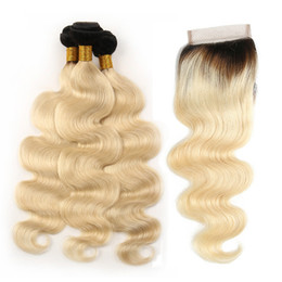 tissage brazilian hair 2019 - 1B 613 Ombre Human Hair Bundles Lace Closure Mink Brazilian Peruvian Virgin Body Wave Hair Weaves With Closure Tissage B