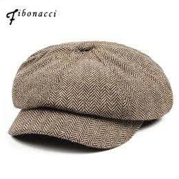 Fibonacci 2017 Yeni Yün Blend Newsboy Kap Yüksek Kalite Bere Retro Çizgili  Sekizgen Şapka Erkekler Kadınlar 3f80950090