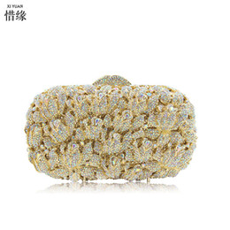 Cocktail Purses Canada - XIYUAN GOLD Diamond Crystal Women Evening Cocktail Party Clutches Bags Wedding Dress Gold Handbag Purse Bridal Metal Cluth bag
