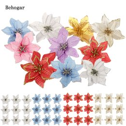 candles for party decoration UK - Behogar 10PCS 13cm Xmas Glitter Artificial Flowers Ornaments Decorations For Home Christmas Tree Wreaths Party Wedding Decor