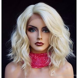 Discount 613 blonde synthetic lace wigs - Heat Resistant 613# Blonde Short Bob Curly Wavy Synthetic Hair Wigs Natural Hairline Gluelese Synthetic Lace Front Wigs
