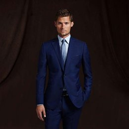 man navy blue yellow formal wear Canada - Navy Blue Groom Wear Wedding TuxedosMens Suit With Pants Wedding Suits Groomsmen Best Man Formal Business Suit (jacket+pant)