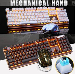 Keyboard For Office NZ - New Metal Panel Gold Yellow Backlight USB Wired Mechanical Gaming Keyboard and Gaming Mouse Set For Home Office Use
