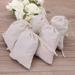 small jute bags wholesale NZ - Small Muslin Drawstring Gift Bags Cotton Linen Vintage Jewelry Pouches Packaging Case Wedding Favor holder Many Sizes Jute Sacks Custom Logo
