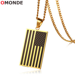 Discount gold star pendant men - United States Flag Pendant Necklace Gold Color Stainless Steel USA National the Stars and Stripes for US Men Patriot Jew