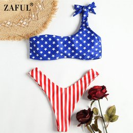 8bac19ce01f wholesale 2018 Women Bikini Swimwear Patriotic American Flag Thong Bikini  Set One Shoulder High Cut Lady Sexy Summer Beach Swimsuit