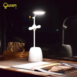 Nickel Fan Australia - LED Desk Lamp Dimming Smart Touch USB Table Lamp With Pen Container Fan Reading Book Light DC Rechargeable For Bedroom Office