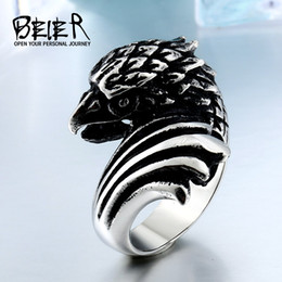 $enCountryForm.capitalKeyWord Australia - Big BIKER MEN's STAINLESS Steel Silver Black Heavy Metal Eagle Head Ring Animal jewerly BR8283