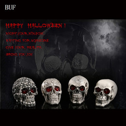 $enCountryForm.capitalKeyWord Australia - BUF Resin Craft Party Decoration Skull Creative Halloween Decoration Horror Skull With Glowing Eyes