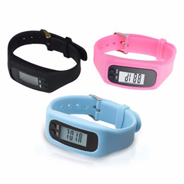 Pedometer Bracelets Canada - LCD Smart Wrist Watch Bracelet Pedometer Sports Monitor Running Exercising Step Counter Fitness Silicone Wristband