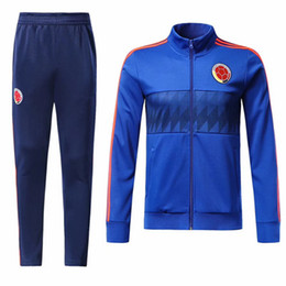 Chinese  2018 Colombia Tracksuit jacket set Soccer Jersey 18 19 world cup Best quality #10 JAMES Football uniform sales Training suit Sport chandal manufacturers