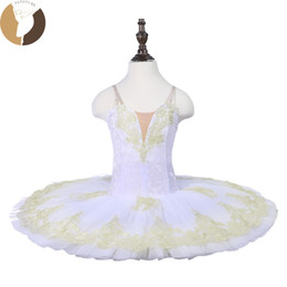 China Fltoture CT18070 Child Ballet Pancake Tutu 7 Layers Hard Tulle Skirt Tutus Velvet Fabric White Swan Stage Costumes Custom Made cheap nylon tulle suppliers