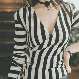 2e189c70053 Women Strip Shirt Summer Tops 2019 Ladies Deep V Neck Top Low Cut T Shirts Hot  Sale Stripe T-shirt Female