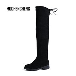 Wholesale Woman s Winter Knee high Boots Flock Upper Warm Lace Up Round Toe Square Heel Fashion Comfortable Female Rubber Boots