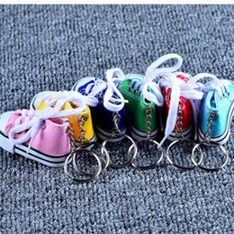 Assorted Chains Australia - 1pcs mini Cute Canvas Sports Shoes Key Assorted Colors Sports Shoes Key Ring Toys kids gift Free Shipping Car chain
