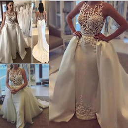 Detachable lace neckline weDDing Dress online shopping - Mermaid Wedding Dresses With Applique Sheer Neckline Sleeveless Wedding Gowns With Detachable Train Custom Made Sheer Back Bridal Gowns