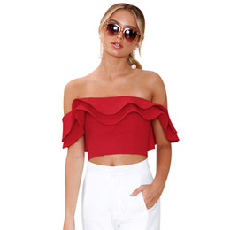 4cc103dc9659 Sexy Summer Crop Tops Women Off Shoulder Ruffles Blouse Ladies Backless  White Red Blouses Shirts Blusas Mujer Boho Beach