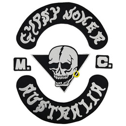 Bikers Back Patches Australia - GYPSY JOKER AUSTRALIA MC Club Biker Vest Embroidered Patch Full Back Large Pattern For Rocker Biker Vest Patches for clothing Free Shipping