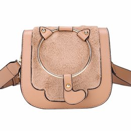 China Women Bag Female Handbags Leather Over Shoulder Bag Crossbody Fur Famous Brand Handbag Small Flap Ladies Sling Cat Fashion Bags cheap saddle brown color suppliers