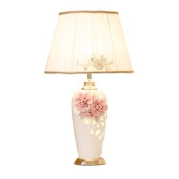 $enCountryForm.capitalKeyWord UK - China ceramic table lamp Pink Flower Cloth Desk lamp For Boy Girl bedroom wedding Children room modern Home lighting G573