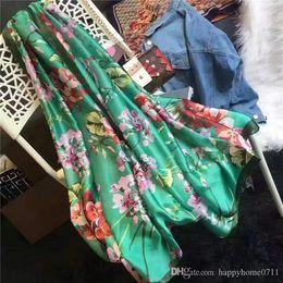 Blanket Scarfs NZ - Fashion New Europe and America Silk Print Floral Pattern Scarf Scarf Shawl Blanket Large Size 180*90cm Beach Sunscreen Blanket Shawl