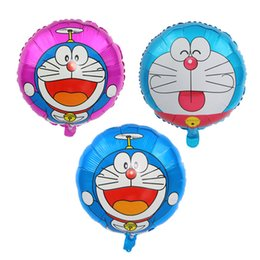 balloons cats UK - Free shipping 50pcs lot 18inch cartoon Doraemon jingle cat aluminum foil helium balloon children birthday party decoration toy