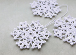 white christmas decor NZ - Crochet snowflake Hanging ornaments home decor White winter crochet decorations White snowflakes Christmas Crochet snowflake 50
