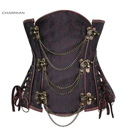 $enCountryForm.capitalKeyWord Australia - Women's Vintage Gothic Steampunk Corset Sexy Brocade Steel Boned Underbust Corset Bustier With Chains Waist Cincher