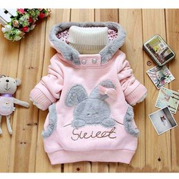 Cartoon Rabbit Hoodies Australia - Girls Outerwear Hoodies Children's Clothing Autumn and Winter Baby Girl Thick Cotton Jacket Kids Cute Cartoon Rabbit Hooded Coat