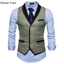 e6f5b48fd23 Suit Collar Dress Vests For Men Slim Fit Mens Suit Vest Male Waistcoat Gilet  Homme Casual Sleeveless Formal Business Jacket