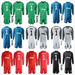 5794b60a36b 2018 2019 Juve Youth Kid Long Sleeve Goalkeeper Jerseys Kids boys Soccer  sets  1 Szczesny Kid Children Kits 1 Buffon Goalkeeper Uniform Sets