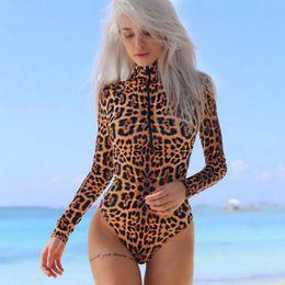 Leotard Jumpsuits Australia - Long Sleeve Skinny Bodysuit Ladies Sexy Long Sleeve Leopard Print Jumpsuit Hot Women Turtle Neck Stretch Leotard