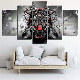 guitar canvas art UK - Canvas Printed Poster Rock Music Instruments DJ Console Guitar Art 5 Panel Wall Painting Home Decor Pop Art Pictures Modular