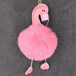 Artificial Chains Wholesalers Australia - Cute Pompom Keychain Flamingo Key Chain Fluffy Artificial Rabbit Fur Ball Women Car Bag Key Ring Porte Clef Christmas Gift