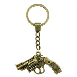 resin keychain UK - 2 Colors 29*22mm Gun KeyChain, Pistol Key Rings, New Fashion Handmade Metal Keychain Party Gift