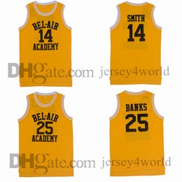Wholesale Bel Air Academy Retro Will Smith Jersey Carlton Banks Stitched Embroidery Yellow Basketball Jerseys Shirts