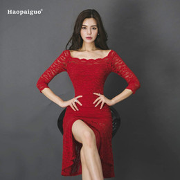 Discount korean lace dress xl - Plus Size Mermaid Dress Women Summer Red Three Quarter Square Collar Vintage Party Club Lace Dress Elegant Korean Office