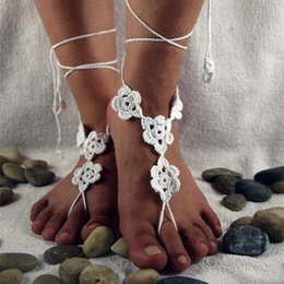 $enCountryForm.capitalKeyWord Australia - Crochet barefoot sandals Nude shoes Foot jewelry Beach wear Yoga shoes Bridal anklet bridal beach accessories lace sandals X004