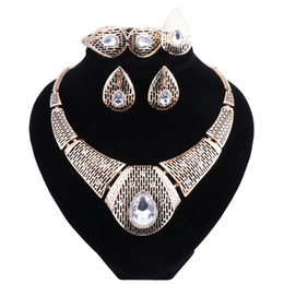 Halloween Indian Costumes For Women UK - New Fashion Diamond For Women Wedding Bridal Accessories Party Gold-color Jewelry African Beads Costume Jewelry Sets