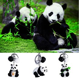 pillar plates wholesale 2019 - Fashion Creative Toys Cartoon Black White Cute Animal Panda Keychain Key holder Car Keyrings Men Women Souvenir Birthday