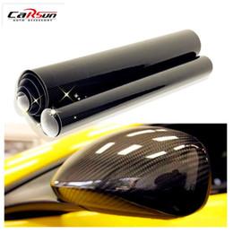 Großhandel 5D Auto Aufkleber 200 * 50 cm (78,7X19,7 Zoll) Glossy Carbon Fiber Vinylfolie Wrap Folie Wasserdichte DIY Auto Dekorative Aufkleber