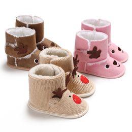Embroidered Snow Boots NZ - XMAS Deer Newborn Kids Baby Girls Snow Shoes Winter Soft Sole Prewalker Crib Plush Boots