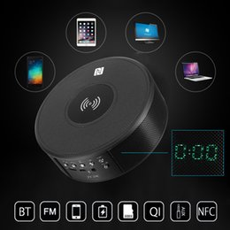 $enCountryForm.capitalKeyWord NZ - Qi NFC Bluetooth Speaker Portable Wireless Radio Loudspeaker Qi Wireless Phone Charger Charging Pad Docking with Alarm Clock