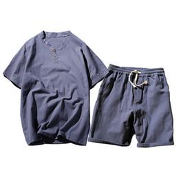 Men White Linen Casual Suits Australia - VELALISCIO 2018 Men Set Summer Cotton Linen Men's Retro Linen Casual Sporting Suit Short Sleeve T shirt+Shorts Tracksuit Men
